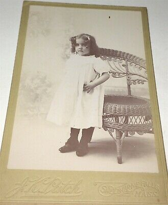 Antique Victorian American Fashion Adorable Child, Wicker Chair Cabinet Photo!