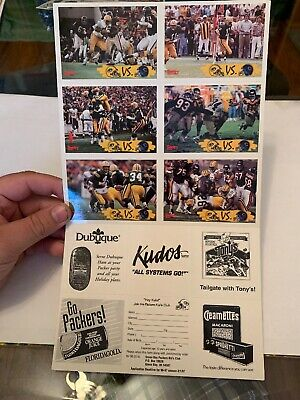 Green Bay Packers Vs Chicago Bears (6) Card Set Sentry Foods , Favre, White