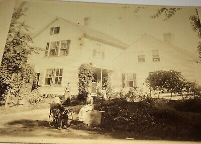 Rare Antique American Landscape ID'd Homestead! Wheelchair Medical Cabinet Photo