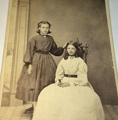 Antique Victorian American Civil War Era Fashion Lovely Sisters CDV Photo! US!