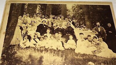 Rare Antique American Double Sided Big Outdoor Group Picnic & Church CDV Photo!