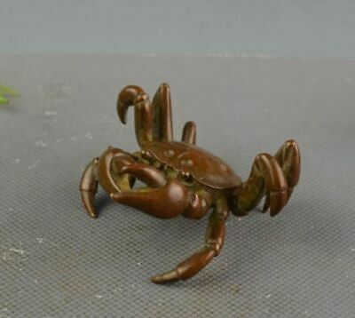 Chinese Old Rare Copper Handwork Lifelike Crab Collectible Wonder Statue RN