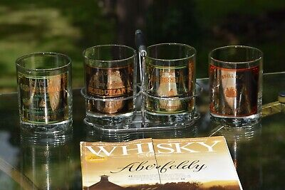 Vintage Whiskey Bourbon Glasses with Caddy, Set of 4, Scotch Glasses