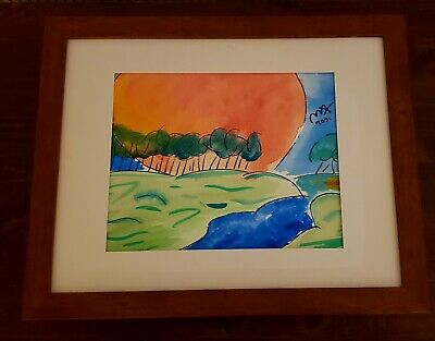 "Peter Max Signed Original Hand Water Color Painting of ""sunset"", signed"