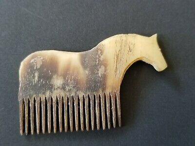 ANTIQUE Hand Carved Horse / Bone Hair Comb Fantastic Museum Grade Artifact