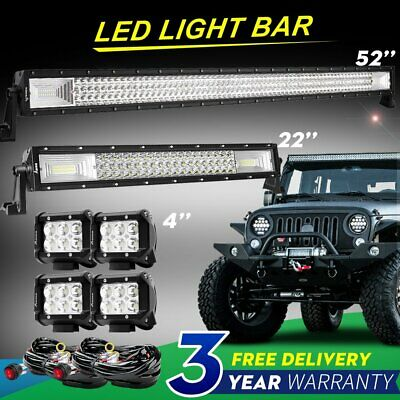"""52 inch LED Light Bar Curved 2x 4/"""" CREE Led Pods Truck ATV UTE Ford Jeep 50//3"""
