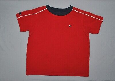Tommy Hilfiger Toddler Boys Shirt Size 4T Red Short Sleeve Embellished Tee