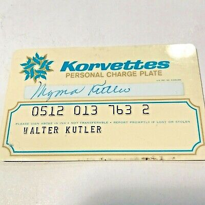Korvettes Personal Charge Plate (Credit Card) - Vintage / Collectable