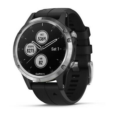 Garmin fēnix 5 Plus with 47 mm Silver Case and Black Band GPS Multisport Watch