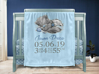 Personalised Baby Boy Gift Throw Blanket Keepsake Blue