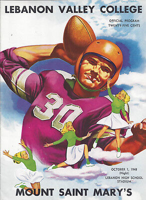 1948 Lebanon Valley vs Mt St Marys Football Program Signed CHOF HC Andy Kerr 2AC