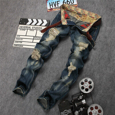 Mens Hole Straight Destroyed Jeans Skinny Ripped Retro High Denim Pants Trousers