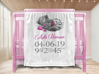Personalised Baby Girl Gift Throw Blanket Keepsake White