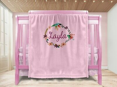 Personalised Baby Girl Gift Throw Blanket Keepsake Pink