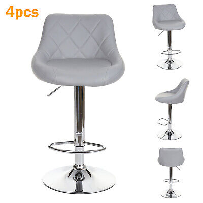 4 x Grey Leather Gas Lift Faux Bar Stools Home Kitchen Breakfast Bar etc