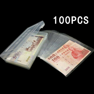100 Pcs Paper Money Album Currency Banknote Case Storage Collection Box Holder