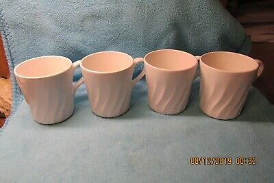 "4 Corelle White Swirl Enhancements 3 1/2"" Mugs / Cups Appear Unused"