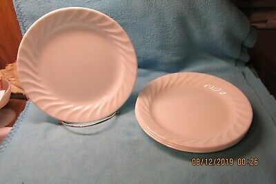 "4 Corelle White Swirl Enhancements 7 1/4"" Salad Plates Appear Unused"