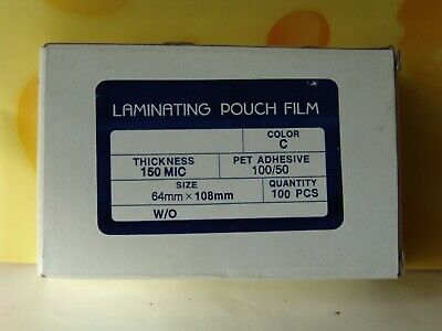 Membership ID Laminating Pouches 64mm x 108mm (x100)  Business Card Pocket Pouch