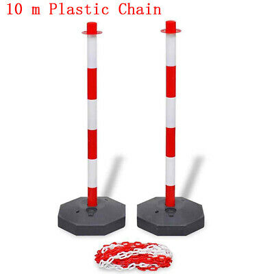 Chain Post Set 10m Plastic Traffic Guard Caution Safety Warning Sign Barrier
