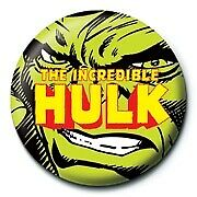 Marvel Comics Retro Incredible Hulk Face Avengers Official 25mm Button Pin Badge