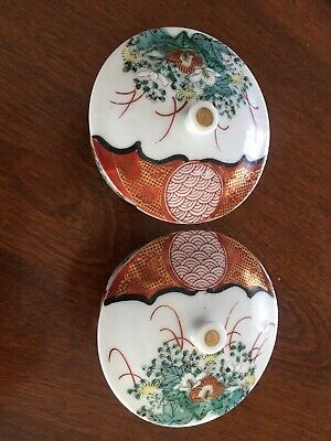 Japanese pair of covered bowls