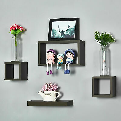 Set Of 4 Floating Wooden Cube Shelves Hanging Shelf Wall Storage Display White