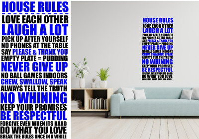 FAMILY HOUSE RULES' Wall Art Quotes Vinyl Wall Sticker, DIY