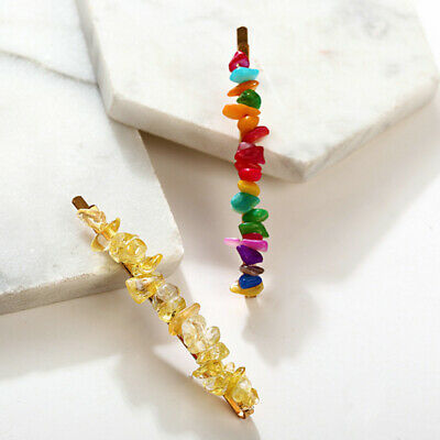Candy Color Women Crystal Hair Clip Barrette Natural Stone Hairpin Fashion New