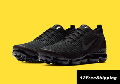 NIKE AIR VaporMax Flyknit 3 2019 MEN Black Running Trainers Shoes 100% Authentic