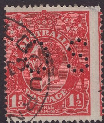 Australia OS perfin off centre on 1½d KGV