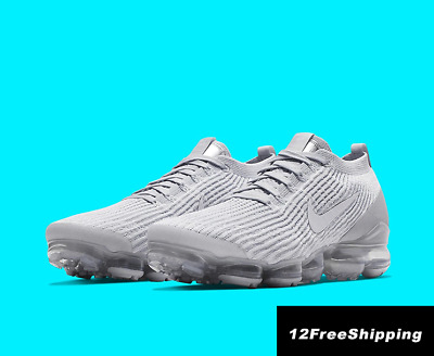 NIKE AIR VaporMax Flyknit 3 2019 Men White Running Trainers Shoes 100% Authentic
