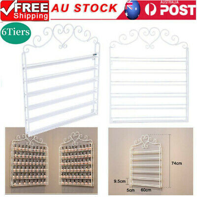 6 Tier Nail Polish Rack Wall Mounted Organizer Display Shelf Stand Holder White