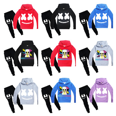 New DJ Marshmello Boys Girls Hoodie Sweatshirt Long Pants Set Sports Tracksuit