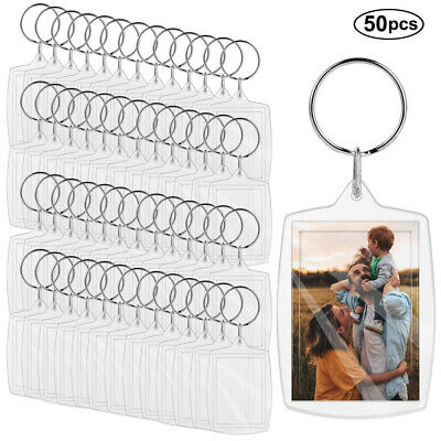 Lot of 50 Photo Keychains Blank Clear Acrylic Insert Picture Frame