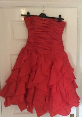 Worn Twice After Six Red Strapless Tiered Vintage Prom Dress & Bolero Size 14