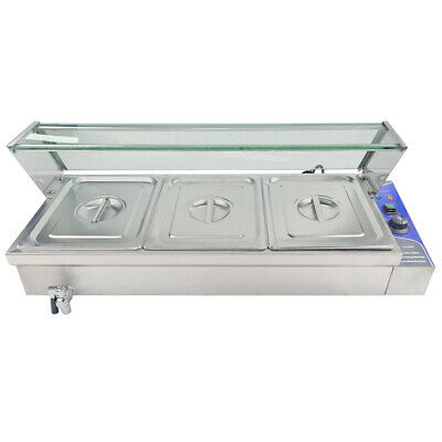 Commercial Electric Bain Marie Food Warmer With Tap 3x1/2 GN Pans Pot Cookware
