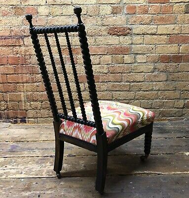 Stunning statement bobbin chair recovered in cut-flame Missoni-style fabric