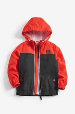 BNWT NEXT Boys Orange & Dark Navy Cagoule Jacket Coat 5-6 Years