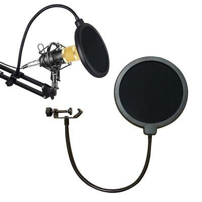 Double Layer Microphone Pop Filter Studio Mic Wind Screen Mask Gooseneck Filter