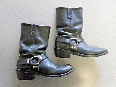 Santa Fe Boot Co. black leather, harness boots, Men's 9 D made in USA