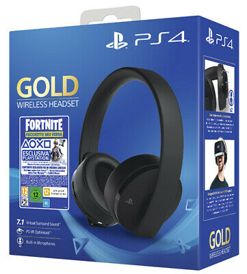 SONY Playstation 4 PS4 Gold Wireless Gaming Headset Cuffie + Fortnite Voucher