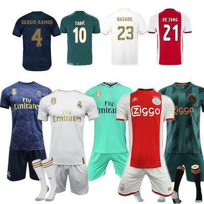 Football Full Kit Kids Youth Boys Soccer Team Custom Jersey Strips Outfit+Socks