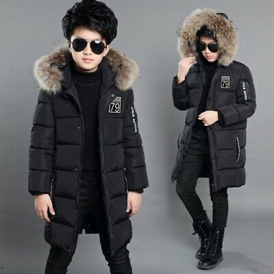 Boys Kids Hooded Winter Warm Quilted Puffer Coat Jacket School Trendy Parka Tops