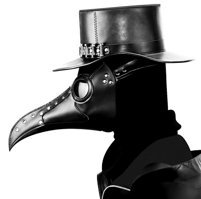 Unique Plague Doctor Steampunk Latex Mask Long Nose Beak Bird Crow Cosplay