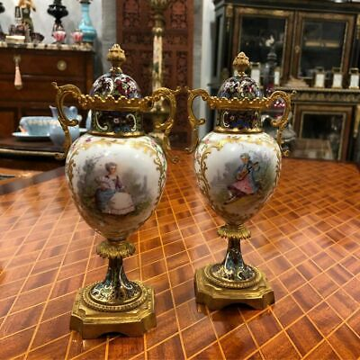 Magnificent Antique 19 TH.Century French Handmade Porcelain Pair of Sevres Vases