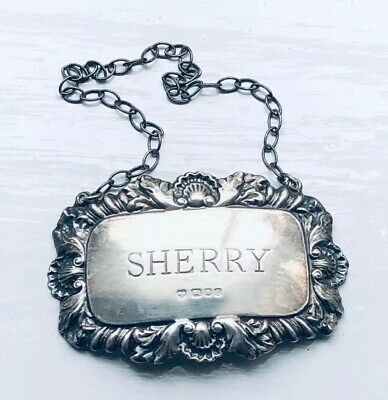 "SOLID SILVER Spirit Decanter Label ""SHERRY"" 925 London DJS 1972 Rocco Style"