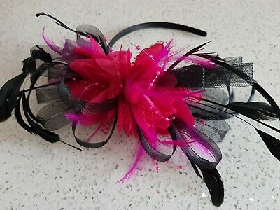 Custom Hair Fascinator on Headband Black/Fuschia
