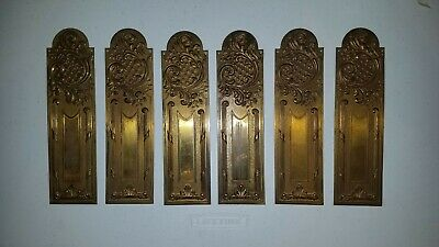 Antique French Empire & Louis XV Style Finely Stamped Brass- 10 Door Push Plates