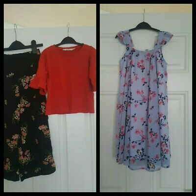 Girls outfits Bundle River Island trousers,H&M Top and peacocks dress 5-6 Years